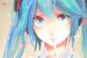 twintails vocaloid hatsune miku cyan hair anime girls blue hair blue eyes
