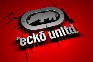 typography ecko red background