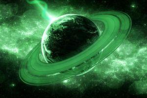 universe planet stars rings lasers galaxy digital art glowing space
