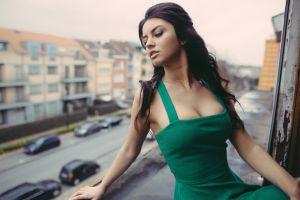 urban depth of field aurela skandaj green dress women looking out window brunette long hair
