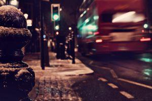 urban depth of field traffic street traffic lights london snow city england