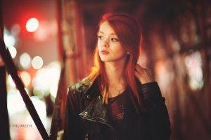 urban face lass suicide leather jackets women redhead long hair model