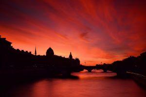 urban silhouette river cityscape