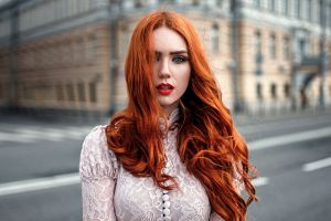 urban women see-through clothing georgy chernyadyev lace model open mouth women outdoors street hair in face windy looking at viewer red lipstick redhead white clothing