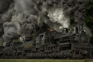 usa smoke steam locomotive train nature wheels grass trees dust railway