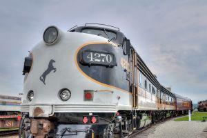 usa train vehicle rail yard diesel locomotive pennsylvania horse railway clouds