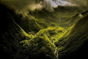 valley aerial view clouds mist landscape river hawaii forest nature mountains green island