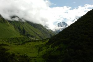 valley clouds nature himalayas india