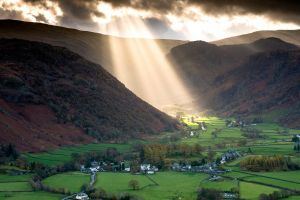 valley house forest landscape village grass trees england nature sunlight sun rays road hills mountains clouds