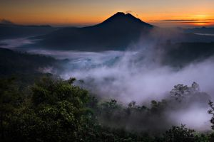 valley mountains indonesia bali volcano landscape forest mist nature