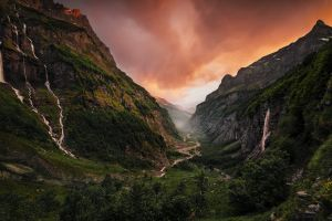valley nature cliff sunset landscape france clouds canyon waterfall river