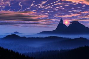 valley sky landscape clouds mountains mist nature blue forest sunset