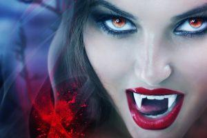 vampires blood spatter model red eyes juicy lips