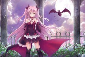 vampires krul tepes pink hair anime girls fangs pink eyes owari no seraph