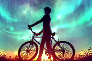 vehicle bicycle aurorae sky artwork