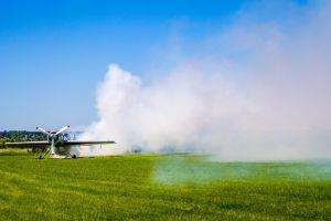 vehicle smoke aircraft airplane field