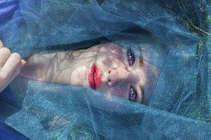 veils redhead freckles blue eyes women