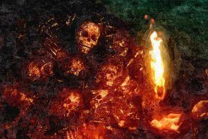 video games fire painting death teeth filter artwork digital art nito dark souls skull