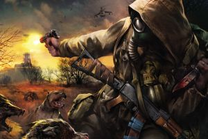 video games futuristic knife s.t.a.l.k.e.r. artwork gun horror gas masks apocalyptic weapon