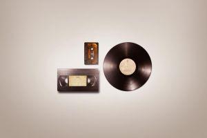 video tape vhs cassette vinyl audio simple music