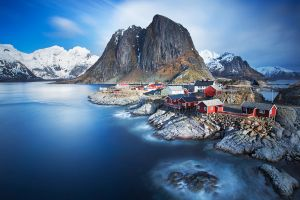 village fjord trees clouds long exposure house bay sea norway rock nature landscape water lofoten mountains