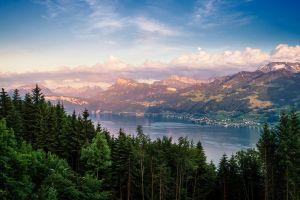 village lake mountains landscape