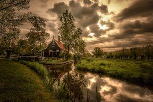 village nature river overcast cottage