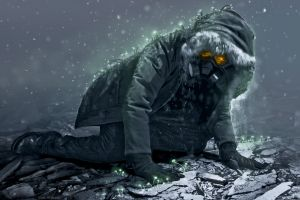vitaly s alexius digital art ruin snow romantically apocalyptic  hoods gloves men boots glowing gas masks winter