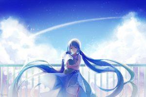 vocaloid clouds long hair anime hatsune miku twintails anime girls white dress