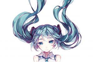 vocaloid hatsune miku blue eyes anime blue hair anime girls simple background