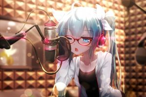 vocaloid twintails hatsune miku anime girls glasses meganekko