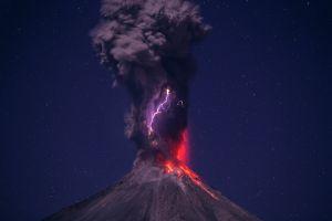 volcano landscape lightning clouds