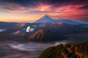 volcano landscape mist nature mountains indonesia