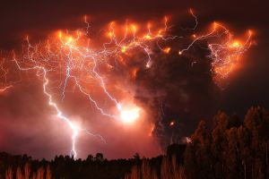 volcano photography fire lightning