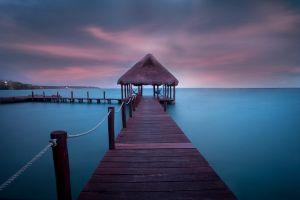 walkway summer caribbean hammocks dock nature vacation sea landscape tropical clouds beach turquoise water