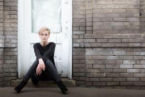 wall blonde door women model sitting