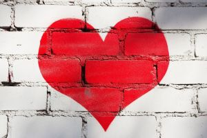 wall bricks heart (design)