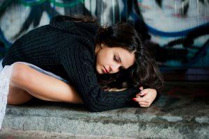 wall women women outdoors black sweater brunette sweater long hair ballerina skirt urban model