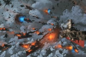 war naval battles digital art steampunk artwork sky