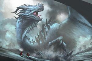 warrior dragon fantasy art