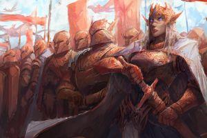 warrior elves artwork army fantasy girl fantasy art sword