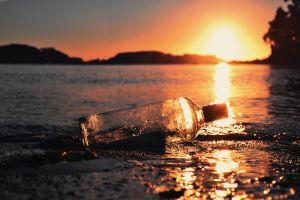 water bottles sunset sunlight