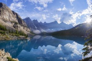 water canada lake summer reflection mountains forest nature moraine lake trees landscape