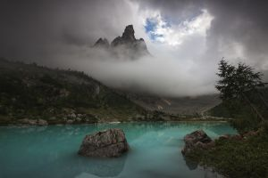 water clouds lake turquoise nature trees landscape mountains