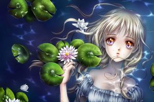 water lilies anime girls water original characters