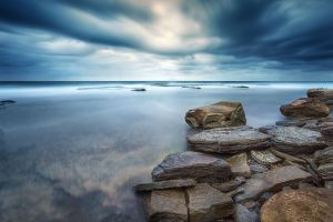 water rock clouds nature long exposure sea overcast stones