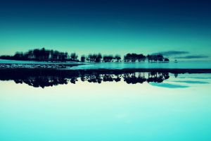 water sky cyan snow trees turquoise blue landscape calm inverted nature reflection