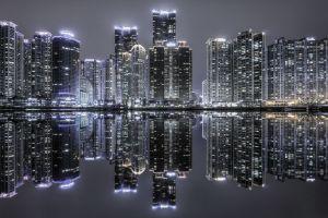 water skyscraper night building reflection urban south korea lights architecture cityscape landscape modern