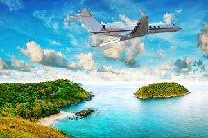 water tropical nature island sky aircraft vehicle