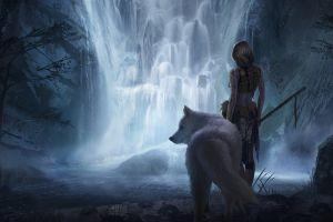 waterfall drawing wolf